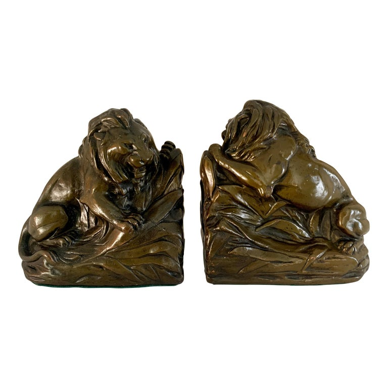 Pair of Bronze Clad Lion Bookends For Sale