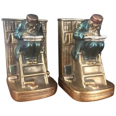 "Pair of Bronze Clad ""Old Professor"" Bookends by Marion Bronze Co."
