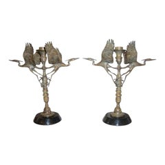 Pair of Bronze Crane Candlesticks