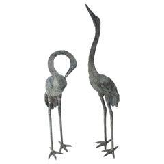 Pair of Bronze Crane Figures