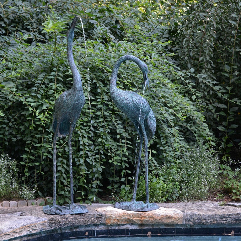 Pair Of Bronze Crane Fountains For Sale At 1stdibs