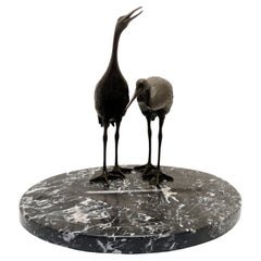Pair of Bronze Cranes on Marble Base, Table Business Card Holder, 1920's