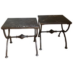 """Pair of Bronze Diego Giacometti Style 'X-Form"""" Stools, Tabouret, Tables"""