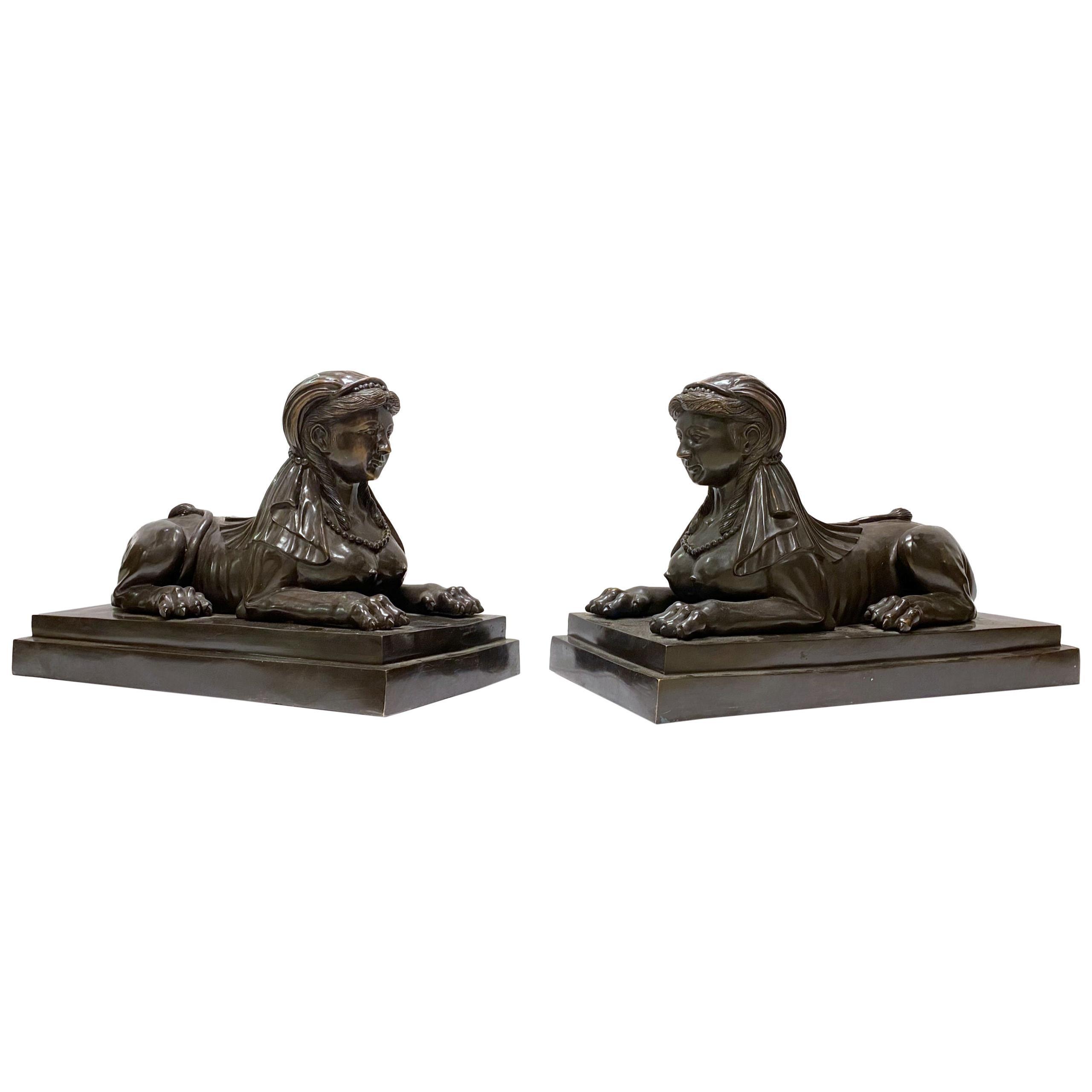 Pair of Bronze Egyptian Sphinx Sculptures