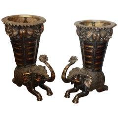 Pair of Bronze Elephant Form Planters