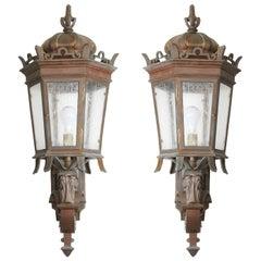 Pair of Bronze Exterior Wall Lanterns
