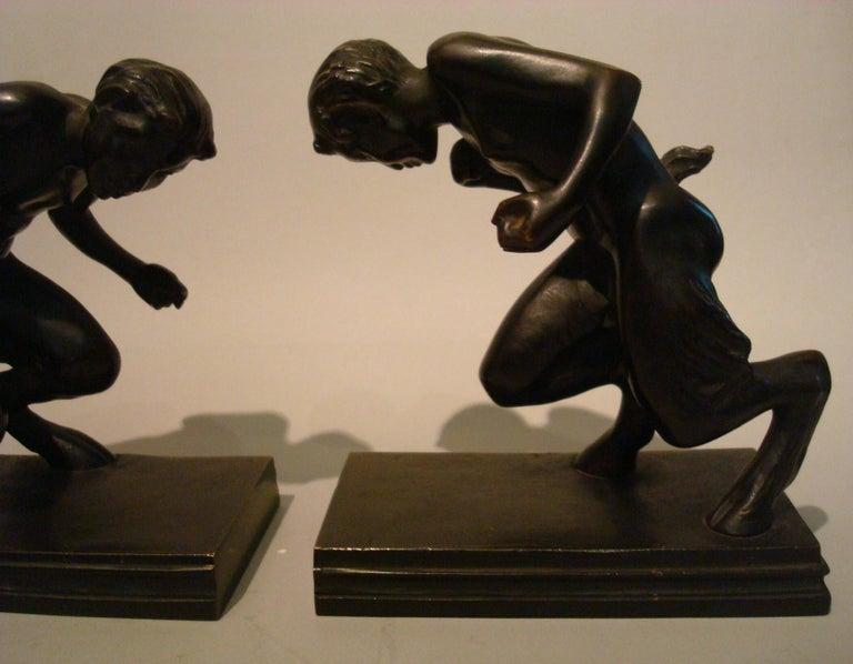 Art Nouveau Pair of Bronze 'Faun' Sculpture Bookends, Austrian, 1910s For Sale