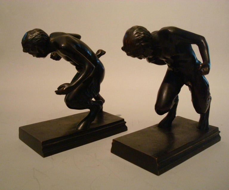 Pair of Bronze 'Faun' Sculpture Bookends, Austrian, 1910s In Good Condition For Sale In Buenos Aires, Olivos