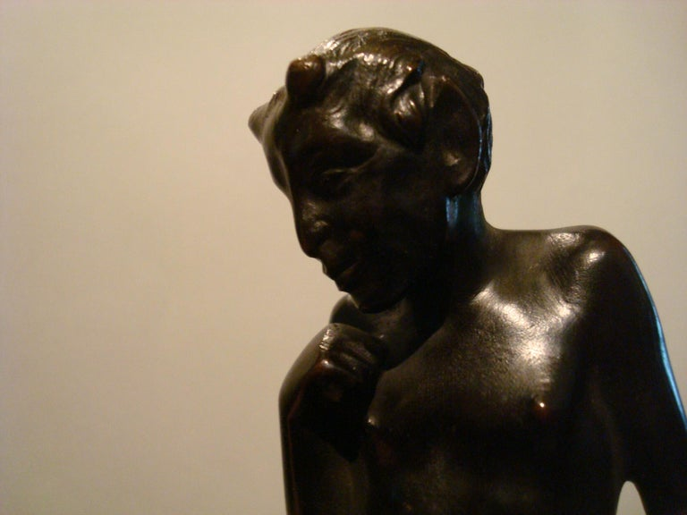 20th Century Pair of Bronze 'Faun' Sculpture Bookends, Austrian, 1910s For Sale