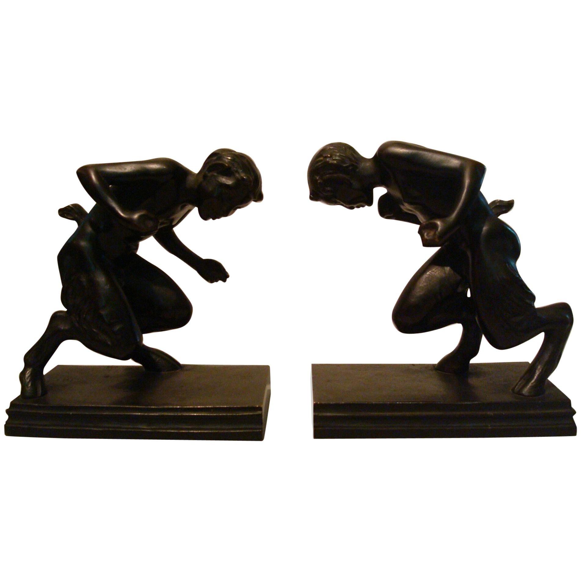 Pair of Bronze 'Faun' Sculpture Bookends, Austrian, 1910s