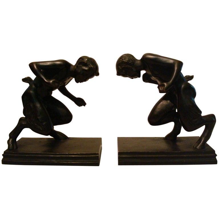 Pair of Bronze 'Faun' Sculpture Bookends, Austrian, 1910s For Sale