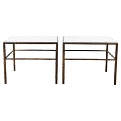Pair of Bronze Faux Bamboo Low Tables with Glass Mosaic Tops