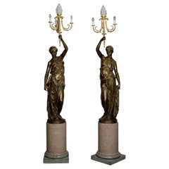 Pair of Bronze Figural Candelabra, Cast by Ferdinand Barbedienne, circa 1870