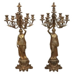 Pair of Bronze Figural Candelabras with Victorian Women