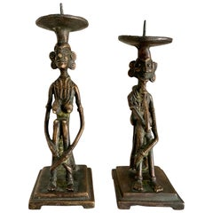 Pair of Bronze Figurative Candleholders Bookends
