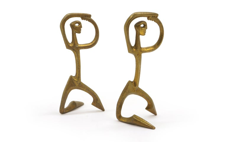 American Pair of Bronze Figurative Table Sculptures by Frederic Weinberg, Each is Signed For Sale