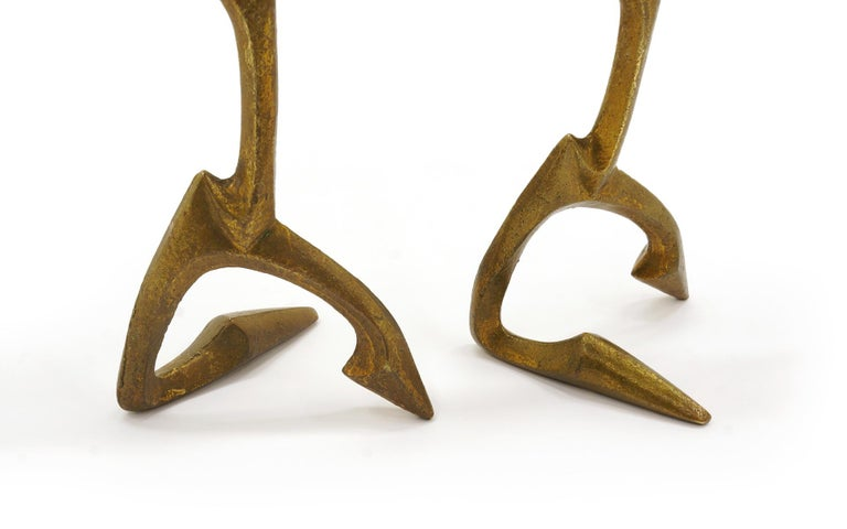 Pair of Bronze Figurative Table Sculptures by Frederic Weinberg, Each is Signed In Good Condition For Sale In Kansas City, MO