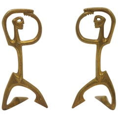 Pair of Bronze Figurative Table Sculptures by Frederic Weinberg, Each is Signed