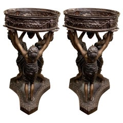 Pair of Bronze Figured Centerpieces / Planters or Jardinières