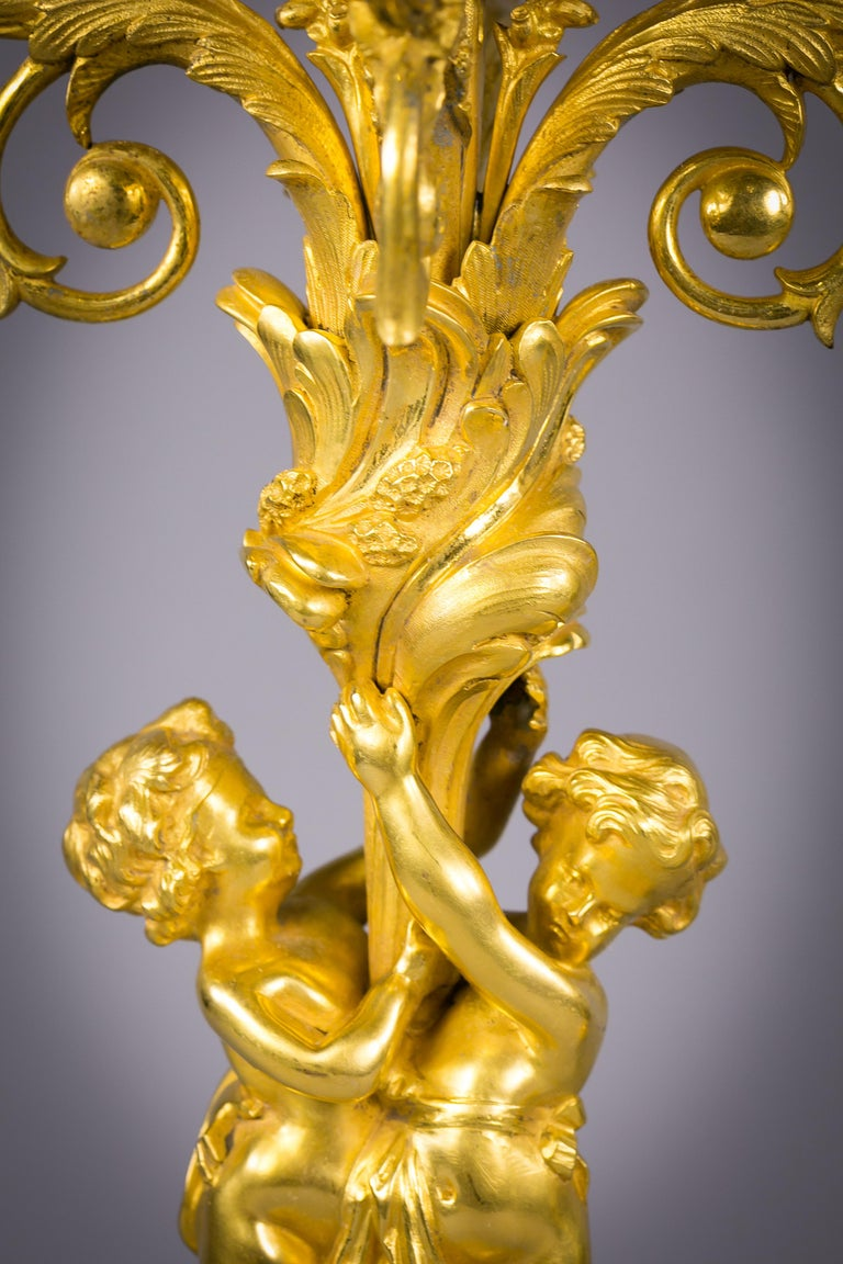 American Pair of Bronze Five-Light Figural Candelabra, E.F. Caldwell and Co., circa 1900 For Sale