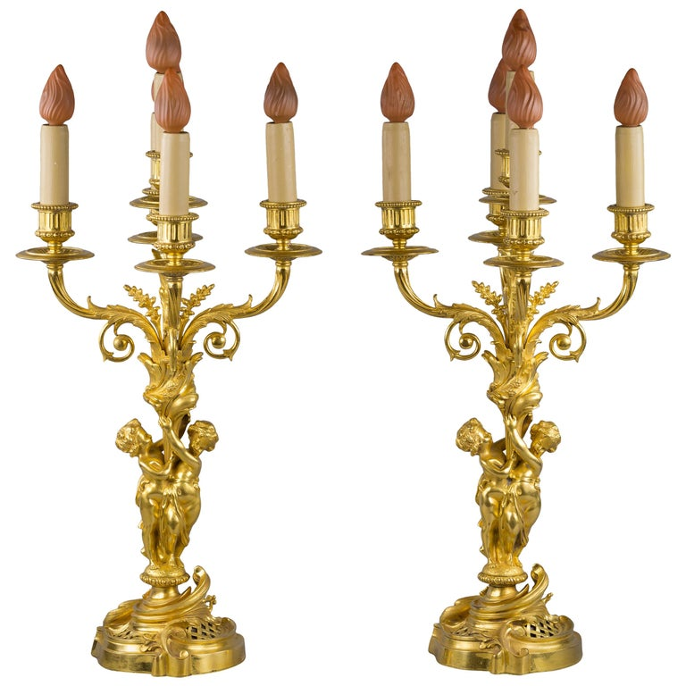 Pair of Bronze Five-Light Figural Candelabra, E.F. Caldwell and Co., circa 1900 For Sale