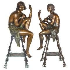 Pair of Bronze Flapper Girls on Pedestals by Ferdinado De Luca