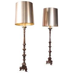 Pair of Bronze Floor Lamp and Plastic Shade