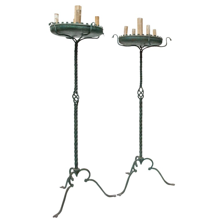 Pair of Bronze Floor Lamps, Italy, 1930-1940 For Sale
