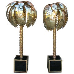 Pair of Bronze Floor or Desk Lamps Palm Tree-Shaped and Squared Base