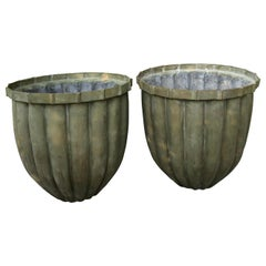 Pair of Bronze Fluted Planters