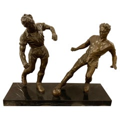 Pair of Bronze Football or Soccer Players