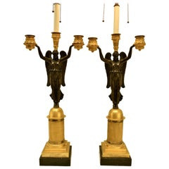 Pair of Bronze French Empire Victory Candelabra Lamps