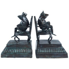 Pair of Bronze Frog Bookends