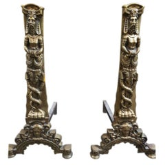 Pair of Bronze Front Renaissance Style Chenets, French, circa 1850