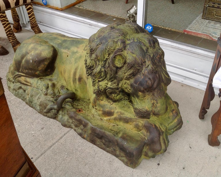 Pair of Bronze Garden Lions For Sale 6