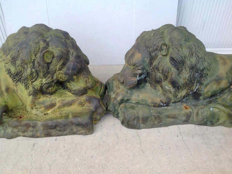 Asian Pair of Bronze Garden Lions For Sale