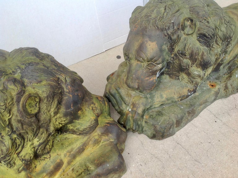 Pair of Bronze Garden Lions In Good Condition For Sale In West Palm Beach, FL