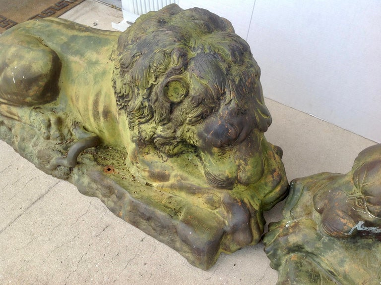 20th Century Pair of Bronze Garden Lions For Sale