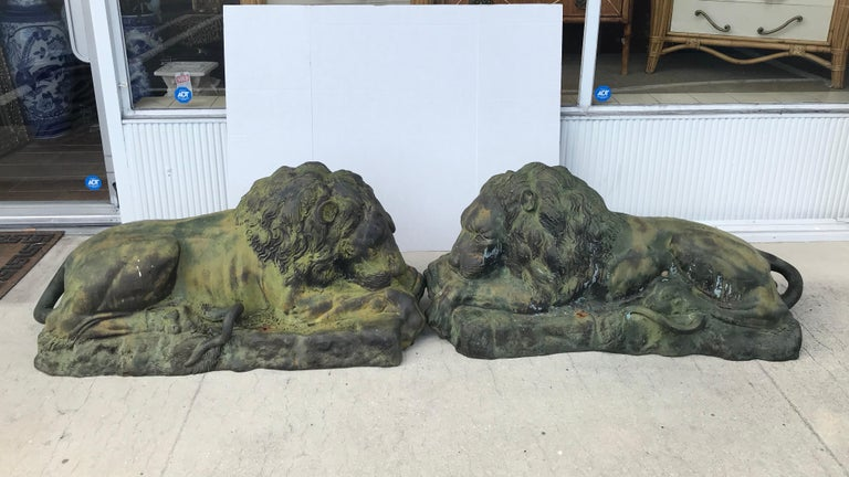 Pair of Bronze Garden Lions For Sale 2