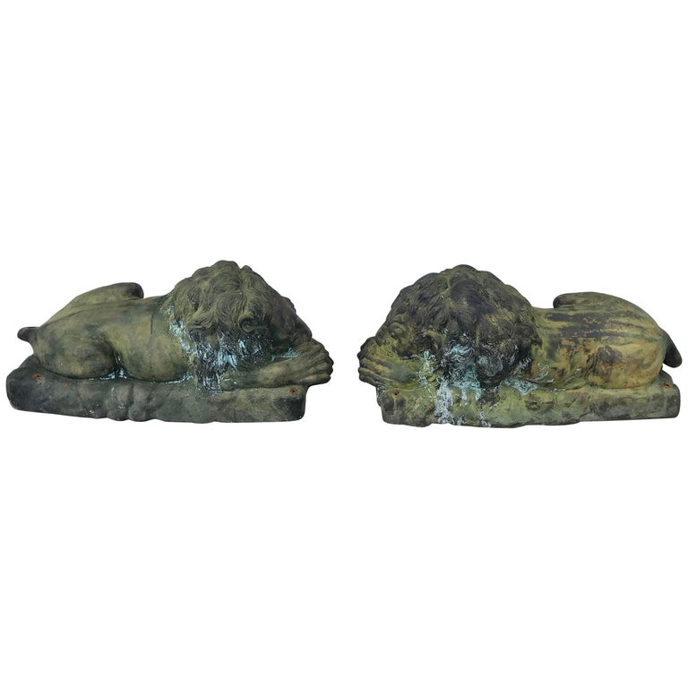 Pair of Bronze Garden Lions For Sale