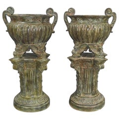 Pair of Bronze Garden Urns, French Architectural Empire Vases, 20th Century