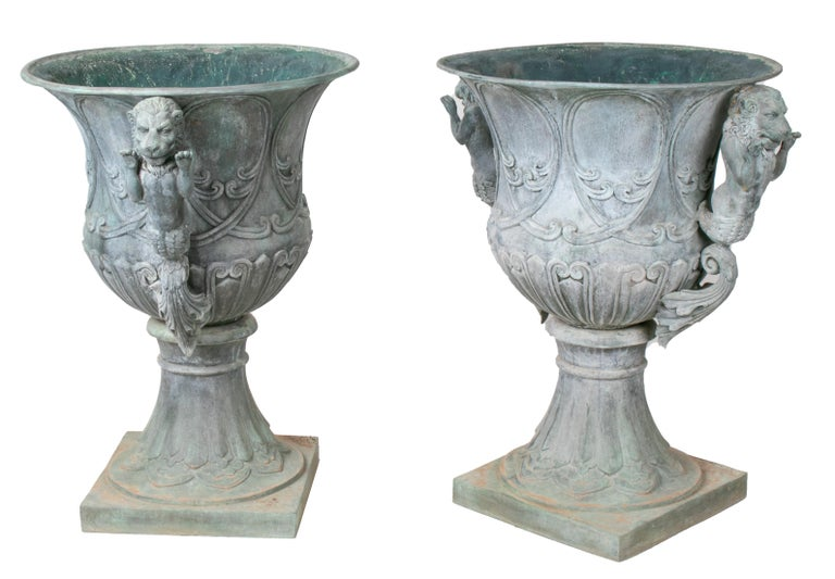 European Pair of Bronze Garden Urns with Lions in Old Green Patina For Sale