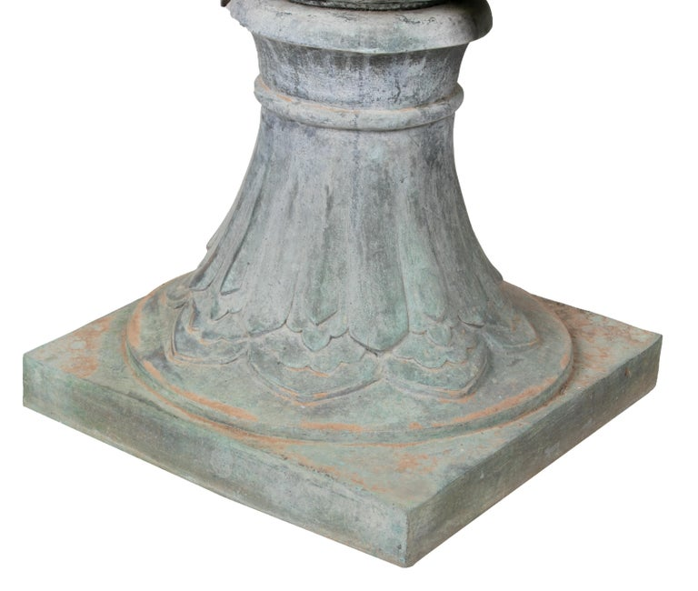 Pair of Bronze Garden Urns with Lions in Old Green Patina For Sale 4