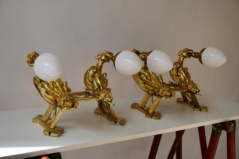 Pair of Bronze Gilt and Glass Wall Sconces Representing Two Griffins For Sale 6