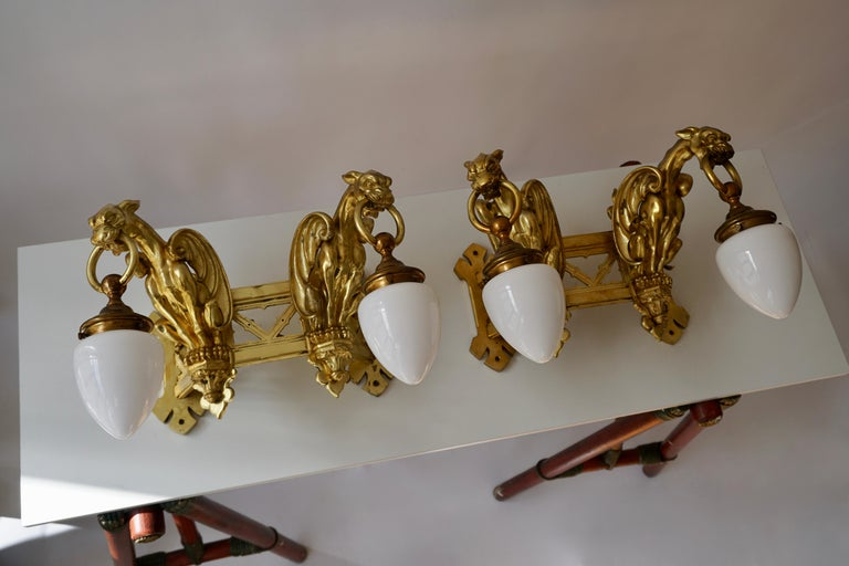 Pair of Bronze Gilt and Glass Wall Sconces Representing Two Griffins For Sale 7