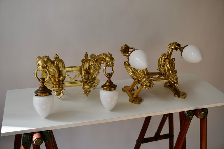 Pair of Bronze Gilt and Glass Wall Sconces Representing Two Griffins For Sale 8