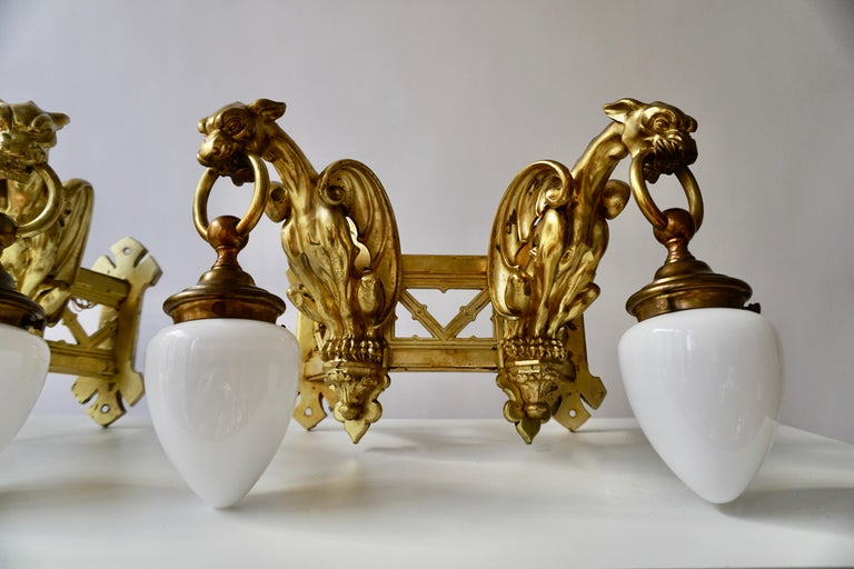 Pair of Bronze Gilt and Glass Wall Sconces Representing Two Griffins For Sale 9
