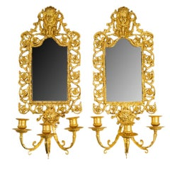 Pair of Bronze Gilt Leaf Mirror Wall Lights