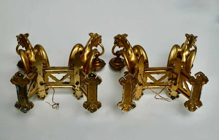 Pair of Bronze Gilt Wall Sconces Representing Two Griffins For Sale 12