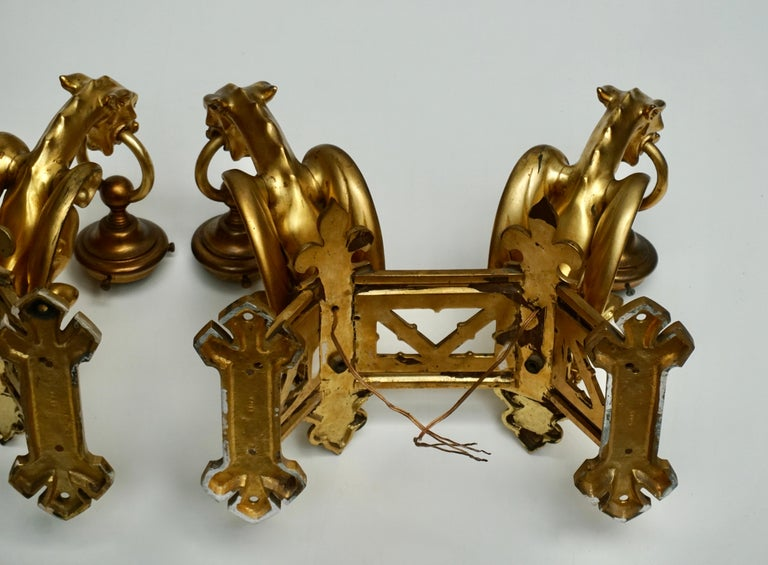Pair of Bronze Gilt Wall Sconces Representing Two Griffins For Sale 13